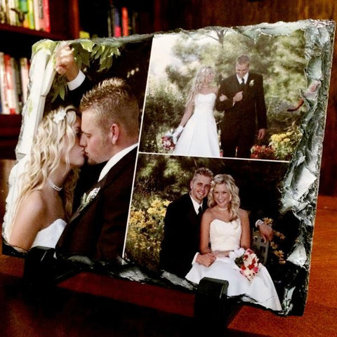 Picture of Three Photos Printed on Rectangular Stone Slates