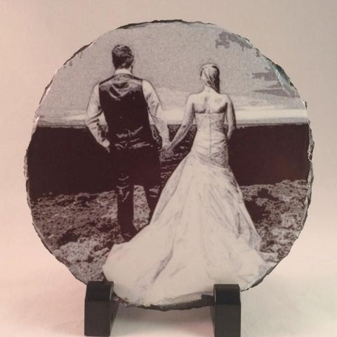 Picture of Photo Pencil Drawing on Round Stone Slates