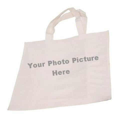 "Picture of White Canvas 7"" Gusset Tote Bag for Your Picture"