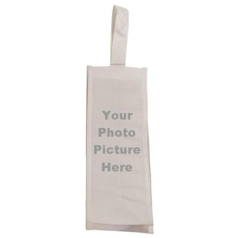 "Picture of White Canvas 4"" Gusset Wine Bag for Your Picture"