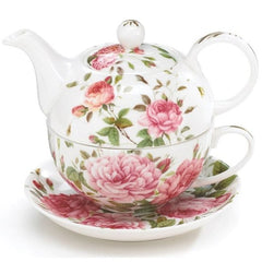 Saddlebrooke Pink Rose Porcelain Stacked Teapot