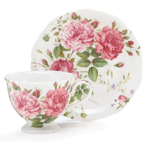 Picture of Saddlebrooke Porcelain Pink Rose Teacup and Saucer Sets - Pack of 2 Sets
