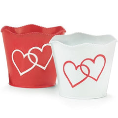 Scalloped Valentine Double Heart Tin Pot Covers - 6 Pack