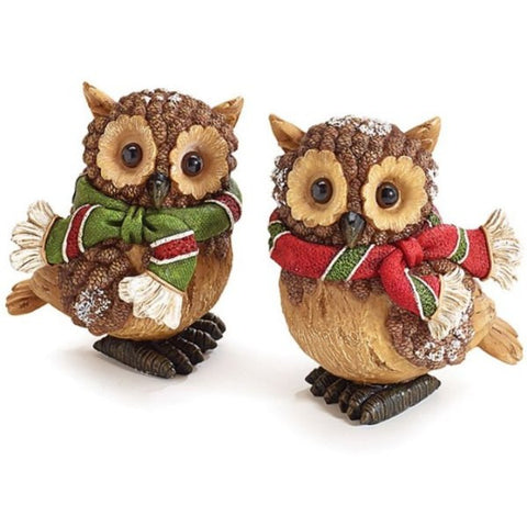 Picture of Sculpted, Crafted and Hand-painted Resin Pine Cone Owl Figurines