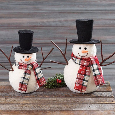 Picture of Set of 2 Snowmen with Top Hats and Plaid Scarves