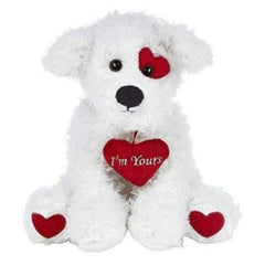 Smootchie Poochie White Plush Stuffed Animal Puppy Dog with Hearts