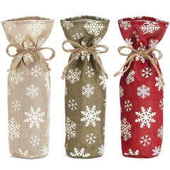 Snowflake Wine Bottle Gift Bags - 3 pc Set