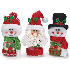 Snowmen and Santa Acrylic Candy Jars - 3 Assorted