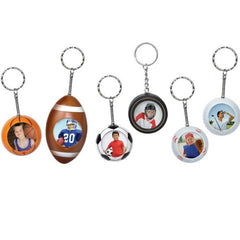 Sport Ball Photo Snap-in Keychains - 6 Pack
