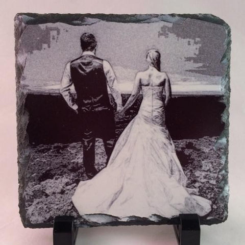 Picture of Photo Pencil Drawing on Square Stone Slates