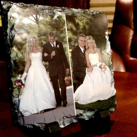 Picture of Two Photos Printed on Square Stone Slates
