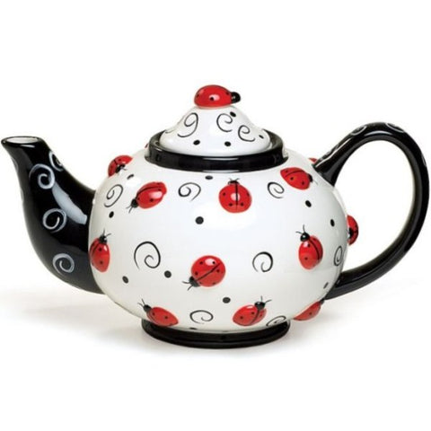 Picture of Lovely Ladybug Teapot with Raised Design and Swirls - 2 Pack