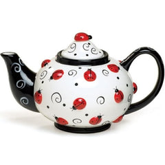 Lovely Ladybug Teapot with Raised Design and Swirls - 2 Pack
