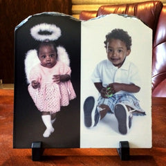 Two Photos Printed on Tablet Stone Slate