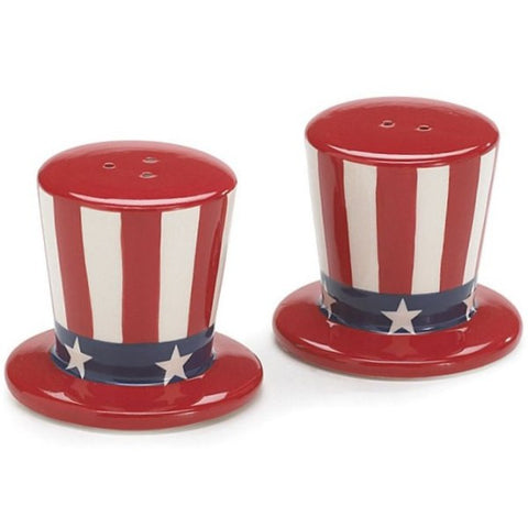 Picture of Uncle Sam USA Flag Patriotic Hat Salt and Pepper Shaker Sets - Pack of 4 Sets