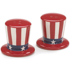Uncle Sam USA Flag Patriotic Hat Salt and Pepper Shaker Set