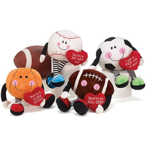 Picture of Plush Valentine Sports Balls with Dangle Legs - 4 Pack