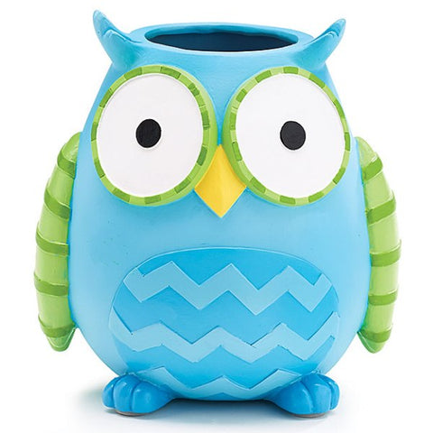 Picture of WHO'S CUTEST BOY Blue Owl Resin Vase/Planter - 3 Pack