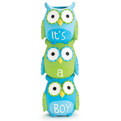 Picture of WHO'S CUTEST BOY Blue Owls Stacked Resin Vase - 3 Pack