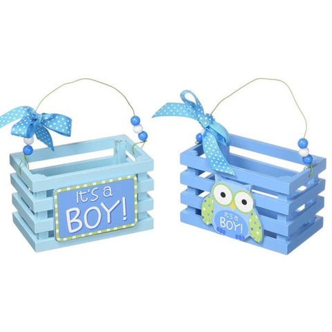 Picture of WHO'S CUTEST BOY Blue Wood Crate Set - Pack of 3 Sets