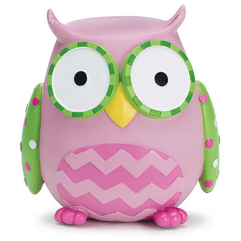 Picture of WHO'S CUTEST GIRL Pink Owl Resin Bank