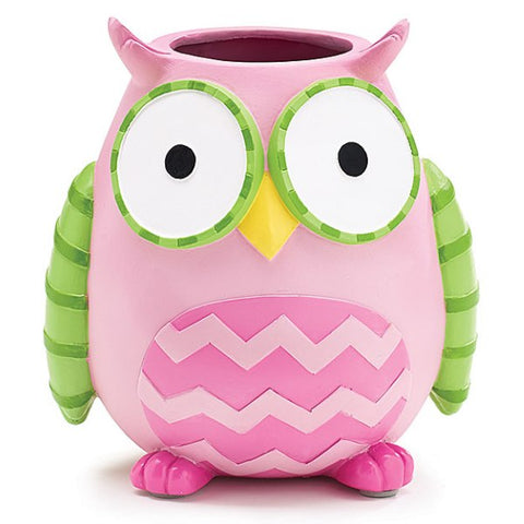 Picture of WHO'S CUTEST GIRL Pink Owl Resin Vase/Planter - 3 Pack