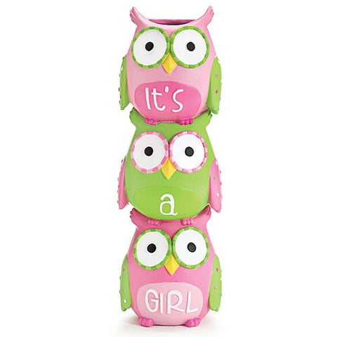 Picture of WHO'S CUTEST GIRL Pink Owls Stacked Resin Vase - 3 Pack