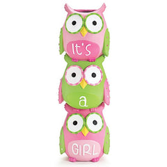 WHO'S CUTEST GIRL Pink Owls Stacked Resin Vase - 3 Pack