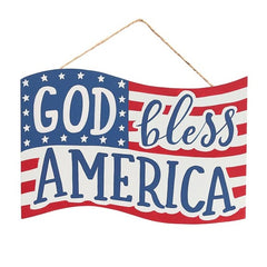 Wall Hanging God Bless America Wood Flags - 8 Pack