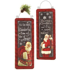 Wall Hanging Merry Christmas Sign with Santa Holiday Decoration Set