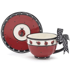 Whimsical Ladybug Teacup and Saucer Sets - Pack of 4 Sets