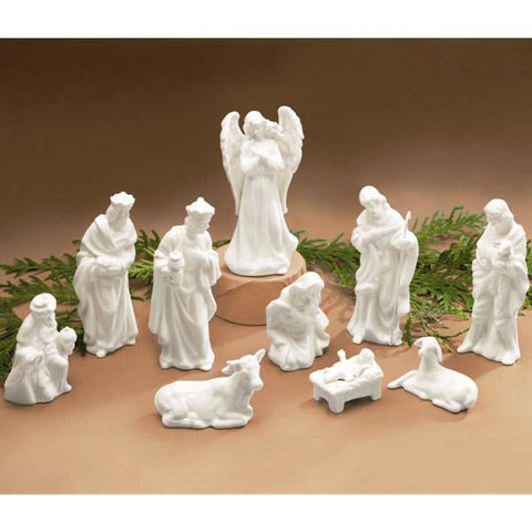 Picture of White Porcelain Miniature Nativity Figurines - 10 pc Set