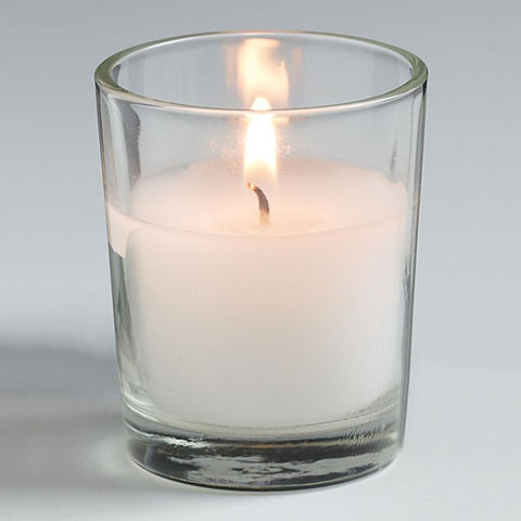 Picture of White Unscented Votive Candle with Clear Glass Holder - 25 pack