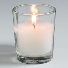 White Unscented Votive Candle with Clear Glass Holder - 25 pack