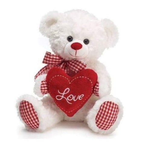 Picture of White/Red Gingham Swirl Fur Love Bear
