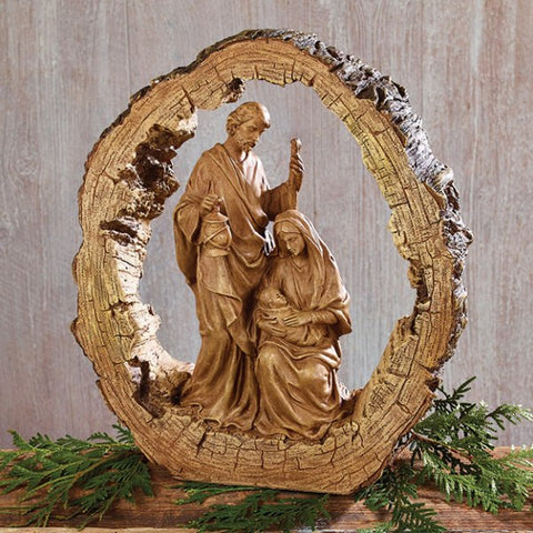 Picture of Wood Carved Resin Holy Family Nativity