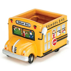 Yellow School Bus Resin Planters - 2 Pack