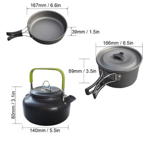 Camping Cooking set - Ultra-light Aluminum Alloy Camping Cookware Utensils Outdoor Cooking Teapot Picnic Tableware Kettle Pot Frying Pan 3pcs/Set