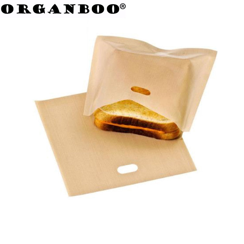 ORGANBOO 5pcs/Set Toaster Bags for Grilled Cheese Sandwiches Baking Pastry Tools Reusable Non-stick Baked Toast Bread Bags