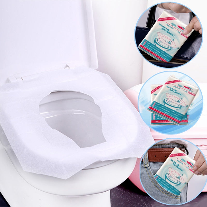 10pcs / 50pcs disposable toilet seat cover toilet paper mat for travel outdoors Camping bathroom accessories toilet tools