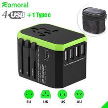 Load image into Gallery viewer, Universal Travel Adapter International Wall Charger AC Plug Adaptor with 5.6A Smart Power and 3.0A USB Type-C for US EU UK AU