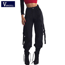 Load image into Gallery viewer, Vangull Black High Waist Cargo Pants Women Pockets Patchwork Loose Streetwear Pencil Pants 2019 Fashion Hip Hop Women's Trousers