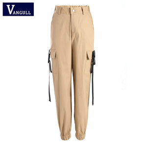 Vangull Black High Waist Cargo Pants Women Pockets Patchwork Loose Streetwear Pencil Pants 2019 Fashion Hip Hop Women's Trousers
