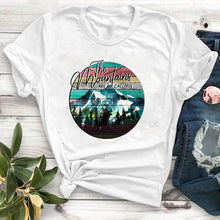 Load image into Gallery viewer, Casual Tshirt Women mountain calling travel Happy camper Summer Print T Shirt Female Women Camisa Mujer Top Graphic Tees T-shirt