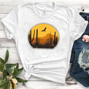 Casual Tshirt Women mountain calling travel Happy camper Summer Print T Shirt Female Women Camisa Mujer Top Graphic Tees T-shirt