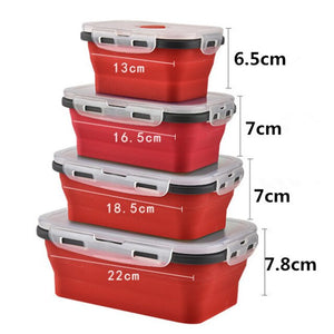 4 Pieces Silicone Lunch Box Collapsible Food Container BPA Free Food Collapsible Storage Container Microwave Freezer Safe