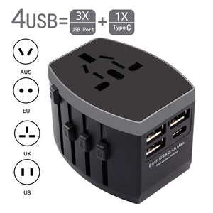 Rdxone Travel Adapter International Universal Power Adapter All-in-one with Type C 3 USB Worldwide Wall Charger for UK/EU/AU/US