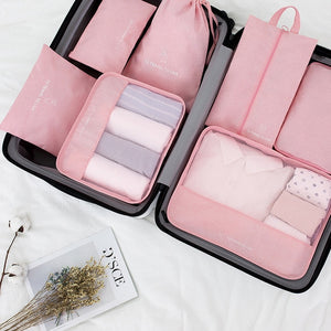 2019 High quality 7PCS/set Travel Bag Set Women Men Luggage Organizer for Clothes Shoe Waterproof Packing Cube Portable Clothing