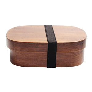 Wooden Lunch Box Picnic  Japanese Bento Box for School Kids Dinnerware Set with Bag&Spoon Fork Chopsticks Round Square Lunch Box