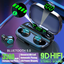 Load image into Gallery viewer, Hembeer Bluetooth Wireless Headphones with Microphone 3500mah Waterproof Earphones HIFI Stereo Noise Cancelling Headset Earbud